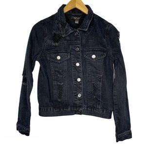 Refuge black denim distressed jacket size small